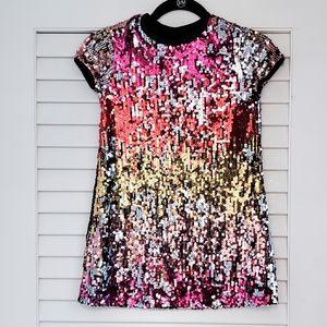Girls Iridescent Sequin Shirt Dress